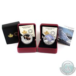 2015 Canada $20 The Majestic Moose & 2016 $20 Snowy Owl Fine Silver Coins. 2pcs (TAX Exempt)