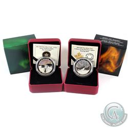 2013 & 2014 Canada $20 Story of the Northern Lights - 2013 The Great Hare & 2014 Howling Wolf. 2pcs