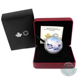 2018 Canada $30 Arctic Animals & Northern Lights - Snowy Owl Fine Silver Coin. (TAX Exempt)