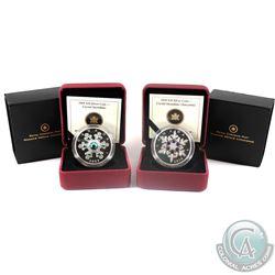2009 Canada $20 Blue Version & 2010 Canada $20 Tanzanite Crystal Snowflake Fine Silver Coins. (TAX E