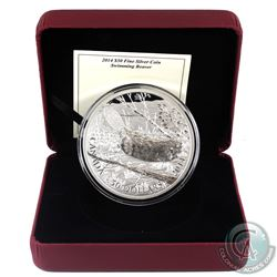 2014 Canada $50 Swimming Beaver 5oz Fine Silver Coin (Missing outer sleeve). (TAX Exempt)