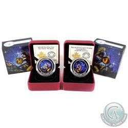 2015 Canada $25 Star Charts -The Quest & The Wounded Bear Fine Silver Coins. Capsules contain light
