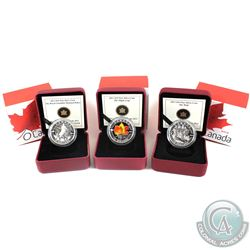 2013 $10 O Canada Fine Silver Coins - RCMP, Maple Leaf Coloured & Wolf. 3pcs (TAX Exempt)
