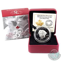 2014 Canada $25 75th Ann. First Royal Visit Ultra High Relief Fine Silver Coin. (TAX Exempt)