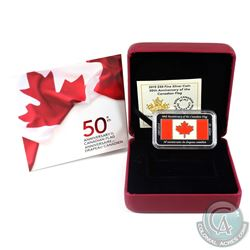 2015 $50 50th Anniversary Canadian Flag Fine Silver Rectangular Coin. (TAX Exempt)