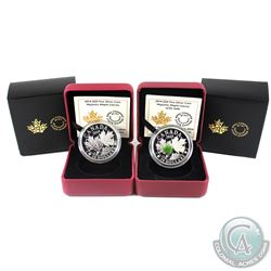 2014 Canada $20 Majestic Maple Leaves & 2014 Majestic Maple Leaves with Jade Fine Silver Coins. 2pcs