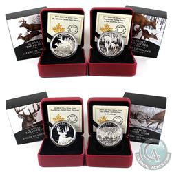 2014 Canada $20 The White-Tailed Deer Fine Silver Coins - Doe & Her Fawns, Mates, Portrait & A Chall