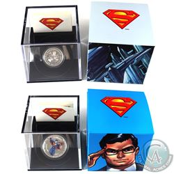 2013 Canada $15 Modern Day Superman 1/2oz & 2013 $10 Vintage Superman 1/4oz Fine Silver Coins. 2pcs