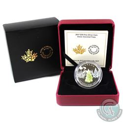 2017 Canada $20 Snow Covered Trees with Murano Glass Fine Silver Coin (Sleeve contains light wear).