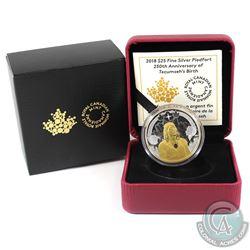 2018 Canada $25 Piedfort 250th Anniversary of Tecumseh's Birth Fine Silver Coin. (TAX Exempt)
