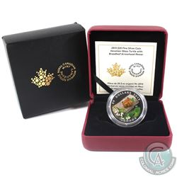 2015 Canada $20 Venetian Glass Turtle & Broadleaf Flower Fine Silver Coin (Sleeve lightly torn). (TA