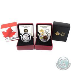 2013 $25 O Canada - The Beaver & 2014 $20 Baby Animals - The Beaver Fine Silver Coins. 2pcs (TAX Exe