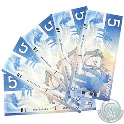 Consecutive 2001 Bank of Canada $5, Knight-Dodge, ANY/5593671/72/73/74/75. Unc Condition. 5pcs.