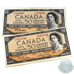 Lot of 2x 1954 modified  $50 Banknotes, Beattie-Coyne A/H Prefix (BC-42a)  and Beattie-Rasminsky B/H