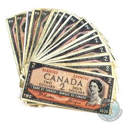 Lot of 24x 1954 Modified $2 banknotes in circulated condition.  Lot includes 1x BC-38a, 4x BC-38c, 1