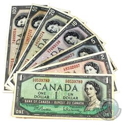 Set of 1954 Modified Banknotes $1-$100 (7pc) All notes in average condition (F or better) A great ty