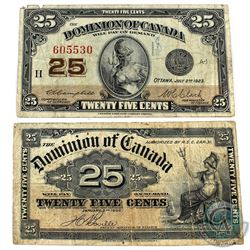 "2x 25-cent Dominion of Canada ""Shinplaster"" banknotes. Lot inches a 1900 Bouville (DC-15b) and a 192"