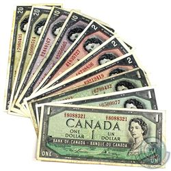 Lot of 10x 1954 Modified Banknotes. Lot includes 3x $1, 3x $2, 2x $10, & 2x $20. All notes in averag