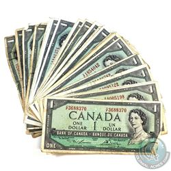 Group lot of 32x 1954 $1 Bills in Circulated condition, lot includes 4x BC-37a, 15x BC-37b, 5x BC-37