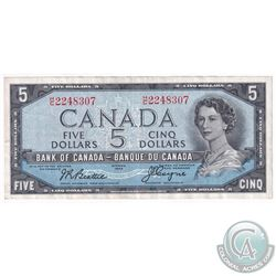 1954 Devil's Face $5 Bill,  Beattie-Coyne, S/N: H/C2248307 ,BC-31b. An attractive midgrade example.