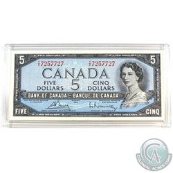 1954 Modified $5 Bill, Bouey-Rasminsky, S/N: T/X7257727, BC-39c. A well centered note in AU+ conditi