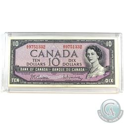 1954 Modified $10 Bill, Beattie-Rasminsky, S/N: A/V9751332, BC-40b. A well centered note in AU+ cond