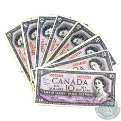 Lot of 8x 1954 $10 Bills in Circulated condition, includes 2x BC-40a and 6x BC-40b. Most notes have