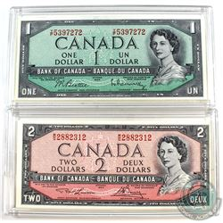 Lot of 2 1954 Modified Banknotes. A Beattie-Rasminsky $1 BC-37b-I and a $2 Lawson-Bouey, BC-38d. Bot