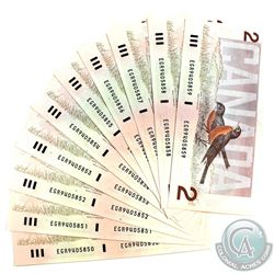 Lot of 10x consecutive 1986 AU or better $2 Banknotes. Bonin-Theissen, S/N: EGR9405850-859.  BC-55c-