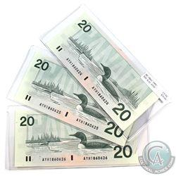 Set of 3x consecutive 1991 $20 Banknotes AYH1860624,25,26. Knight-Dodge, BC-58d-i. All notes in Choi