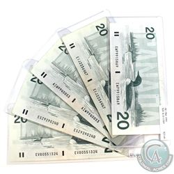 Group lot of 5x 1991 $20 Bills in average circulated condition. Lot includes the following prefix's.