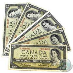 Group Lot of 5x 1954 Modified $20 Banknotes, Beattie-Rasminsky, BC-41b. All notes in average circula