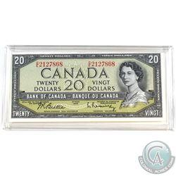 1954 Modified $20 Banknote, Beattie-Rasminsky, BC-41b. S/N: O/E2127868. Note is a nice mid grade exa