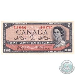 1954 $2 BC-30a Devil's Face Bank of Canada Note Serial Number A/B1689792, EF.