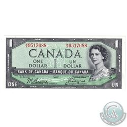 1954 $1 BC-29b Devil's Face Bank of Canada Note Serial Number M/A9517688, CUNC.