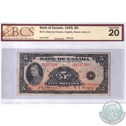 1935 $5 BC-5 Bank of Canada, Osborne-Towers, English, Check Letter A, S/N: A1237320, BCS Certified V