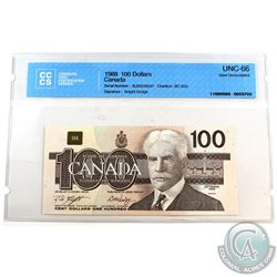 1988 $100 BC-60d Bank of Canada, Knight-Dodge, S/N: BJS5235047, CCCS Certified GUNC-66.