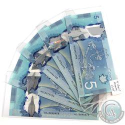 Estate Lot of 5x 2013 $5 Banknotes - 1x 4 Digit RADAR HCR8935398, 2x Consecutive HCL0284579-80 & HCC
