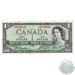 1954 $1 BC-29b Devil's Face Banknote Serial Number L/A6099626.