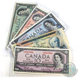 Estate Lot of 1954 & 1972 Bank of Canada Notes - 1954 $1, 1954 $2, 1954 $5, 1954 $10 & 1972 $5. 5pcs