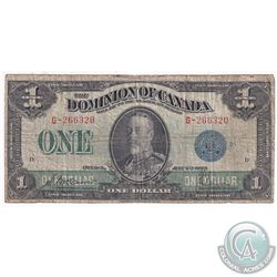 1923 $1 DC-25c, Dominion of Canada, Blue Seal 1, VG (small Tears)