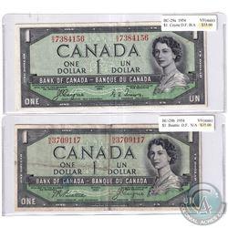 Pair of 1954 $1 Devil's Face Banknotes - BC29a, Coyne-Towers, Prefix B/A, VF & BC-29b, Beattie-Coyne