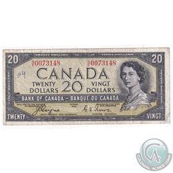 1954 $20 BC-33a, Bank of Canada, Coyne-Towers, Devil's Face, A/E Prefix, VF (Writing)