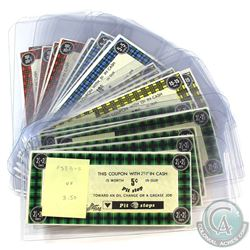 Estate Lot of Canadian Tire Pit Stops Paper Money in Fine to Uncirculated Condition with One 'Filler