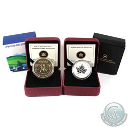 2010 Canada $5 Piedfort Silver Maple Leaf & 2010 $5 Olympic Hockey Gold Plated Fine Silver Coins (Ma