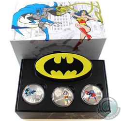 2016 Canada $20 DC Comics Originals - Batman, Superman & Wonder Woman 1oz Fine Silver Coloured 3-Coi