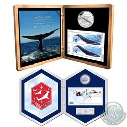 2006 Canada $5 Snowbirds Silver Coin and Stamp Set & 2010 $10 Blue Whale Silver Coin and Stamp Set.