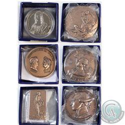 5x Monnie De Paris commemorative medallions: France, Bronze medal, porte-avions,  La Fayette,1889 br
