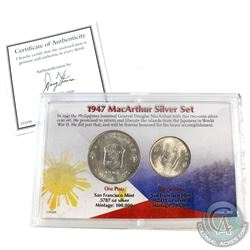 1947-S Philippines 2-coin MacArthur Silver Set. This set was minted by the San Francisco Mint to hon
