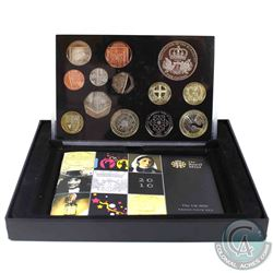 2010 United Kingdom Royal Mint 13-coin Deluxe Proof Set (Coins are toned & black casing inside is cr